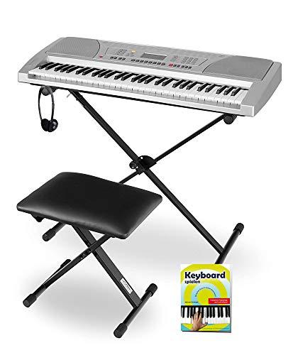 Funkey Super Kit 61 Tasten Keyboard Set (Elektronisches Unterrichts-Keyboard mit LCD Display, inklusive Ständer, Hocker und Kopfhörer) silber