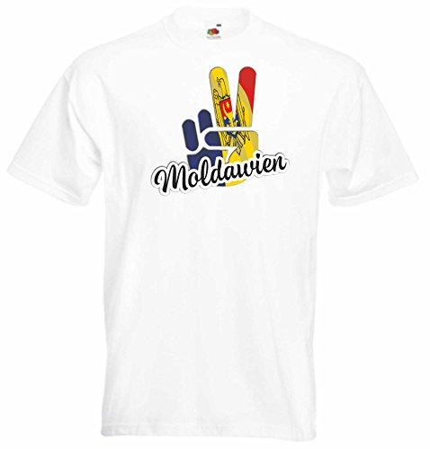 Black Dragon - T-Shirt Herren - JDM - Die Cut - Weiß - Flagge - Fahne - Moldawien - Victory - Sieg - XL - Fussball Sport Boxen Fight - Fasching Party Geschenk Funshirt
