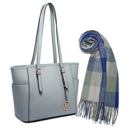 Miss Lulu (2 itens) 1 bolso de mano de piel sintética con asa ajustable, paquete de gris claro con 1 borla larga para mujer de moda para invierno cálido celosía grande - gris