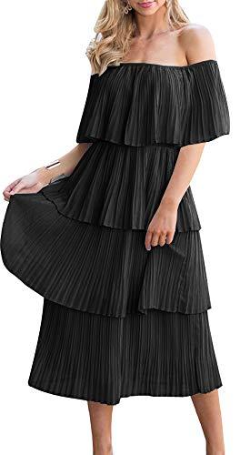 ETCYY Women's Off The Shoulder Ruffles Summer Loose Casual Chiffon Long Party Beach Maxi Dress Black