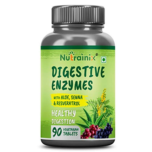 Nutrainix Digestive Enzymes, New formula Now with Resveratrol, Aloe Vera, Senna, 18 All Natural Ultra Enzymes, Supports Healthy Digestion, Vegetarian Tablets, 90 count