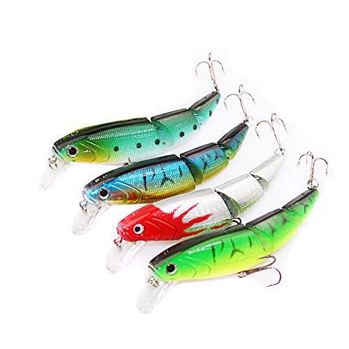 OriGlam 4 señuelos de pesca articulados, cebos de natación realistas, anzuelos, anzuelos duros, cebo de agua superior que se hunde lentamente para lucio