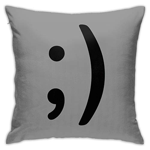 Winky Face Pillow 18inch*18inch,Cushion Pillowcase Decorative Square Sofa Bedroom Car - No Inserts Included