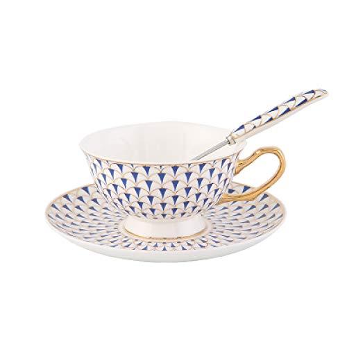 Cup Hotel Creative Cafe British Light Luxury Gold Bone Gold Porcelana Juego de Tazas de café Red Tea Cup European Ceramic Coffee Cup Saucer Afternoon Tea Gift Box Blue350ml