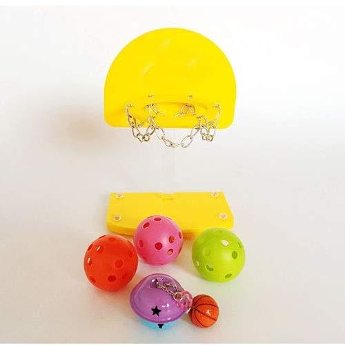 WSJF Vogel Basketball Spielzeug Vogelspielzeug , Papageientraining Mini Basketballkorb Hoop Prop Trick Prop + Bälle Geeignet für kleine und mittlere Papageienunterhaltung, Gelb