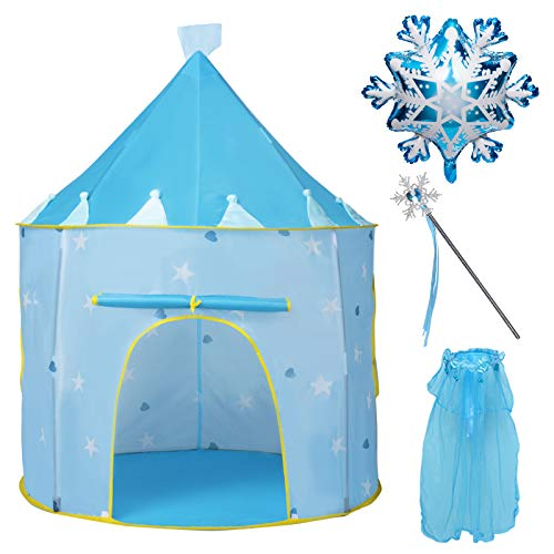 Joyjoz Kid Play Tent with Balloon, Crown Tiara and Fairy Wand, Castle Tent Princess Gift for Girls, Children Play House Pop Up Tents Princess Fairy Toys