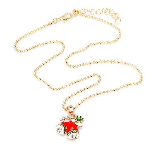 Weihnachtskette Weihnachtsmütze Apple Bell Weihnachtsbaumanhänger Weihnachtsbaum Halskette Für Kinder