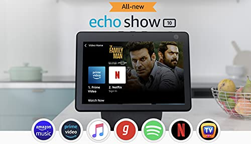 """All new Echo Show 10- 10.1"""" HD smart display with motion, premium sound and Alexa (Black)"""