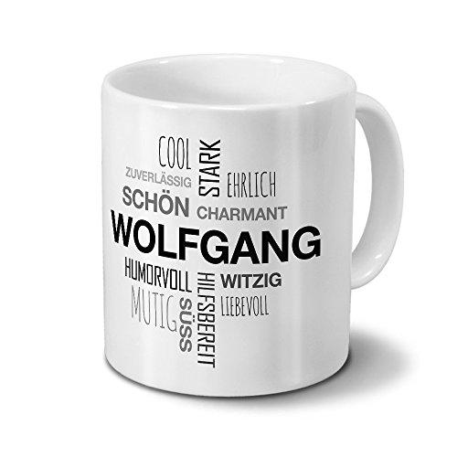 printplanet Tasse mit Namen Wolfgang Positive Eigenschaften Tagcloud - Schwarz - Namenstasse, Kaffeebecher, Mug, Becher, Kaffeetasse