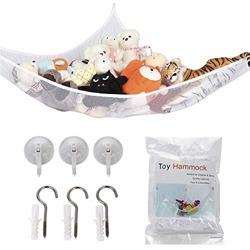 NALCY Hammock, Extra Large Toy Hammock Storage Net Organizer for Teddys, Stuffed Animals, Nursery Play(70.9 x 47.2 x 47.2inches) (White)