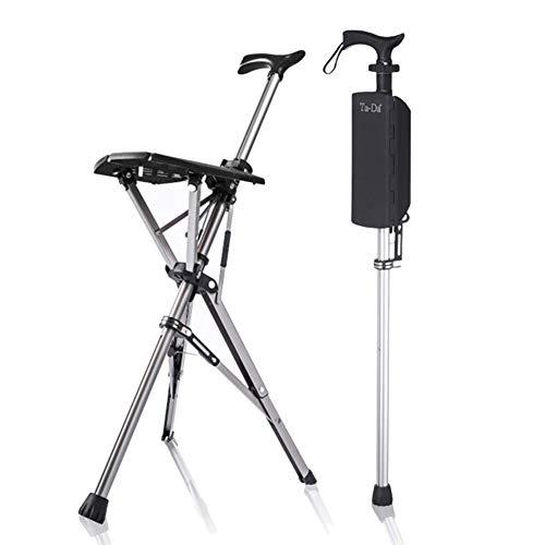 WLKQ Silla Que Camina, Silla Plegable del Bastón del Viaje del Taburete del Asiento Multifunción trípode telescópico de Aluminio Ancianos Andador con sillas, Adecuado para la Pesca el Senderismo ⭐