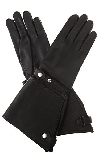 Gants de moto fabriqués à la main en cuir de cerf avec doublure en cachemire noir. - Noir - 8.5