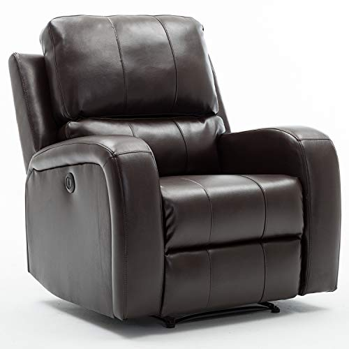 Bonzy Home Power Recliner Chair Air Leather - Overstuffed Electric Faux Leather Recliner with USB Charge Port - Home Theater Seating - Bedroom & Living Room Chair Recliner Sofa (Dark Brown)
