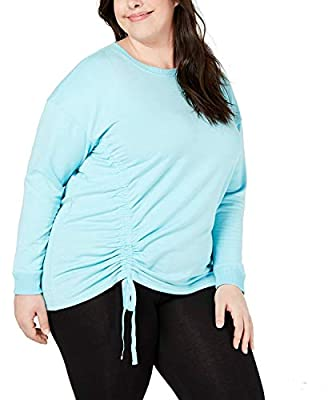 Ideology Womens Plus Fitness Workout Sweatshirt Blue 1X