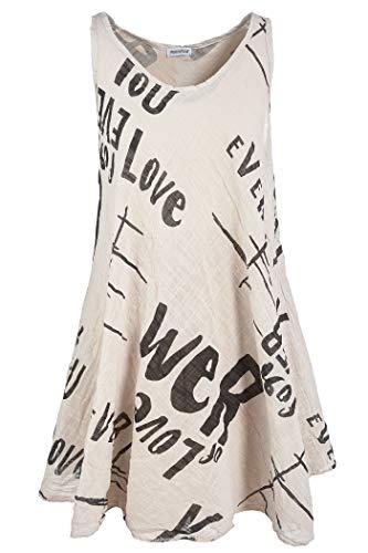 PEKIVESSA Strandkleid Damen große Größen Hängerkleid A-Linie Beige 48-50 (Herstellergröße 2XL/3XL)