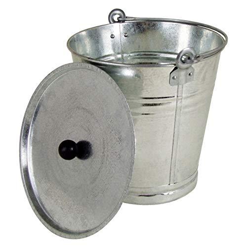 Spetebo Zink emmer met deksel 12 liter – asemmer metalen emmer wateremmer – plantenbak bloembak