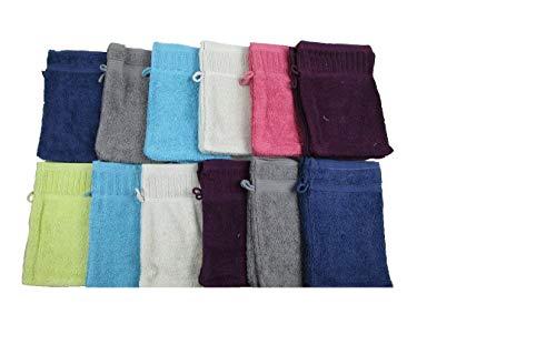 Vandenhove Linge De Maison Lot de Gants de Toilette 100% Coton Fabrication Belge Haut de Gamme Couleurs et Designs Assorties (Lot de 6)