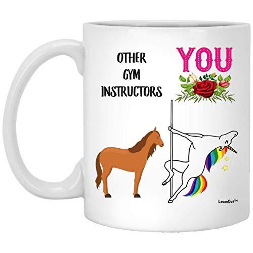 N\A Funny Best Gym Instructor Unicorn Congrats Taza de café con Leche, 11 oz