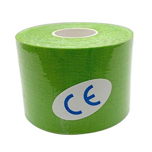 Kinesiology Tape Muscle Bandage 15 Farbe Sport Baumwolle Elastic Adhesive Strain Injury Hochgeschwindigkeitsband Kniemuskelschmerzlinderung - Hellgrün, 7,5 cm x 5 m