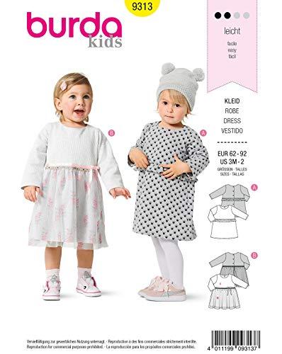 Burda Schnittmuster 9313, Kinder-Kleider [Baby 62-92] zum selber nähen, ideal für Anfänger [L2]