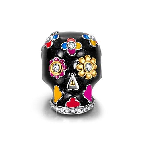 NINAQUEEN Charm Encaja con Pandora Halloween Cráneo Flor Regalos Mujer Originales Plata de Ley 925 Esmalte Abalorios para Niñas Madre Hija Esposa de Cumpleaños