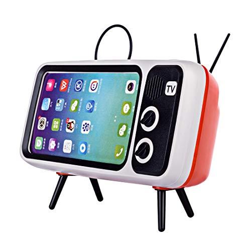 TONGJI Retro TV Bluetooth draadloze luidspreker telefoonhouder, telefoonstandaard dock, voor telefoons met 4,7-5,5 inch beeldscherm - koffie