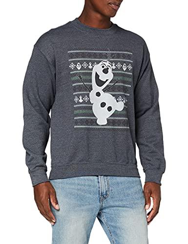 Disney Frozen Christmas Olaf Dance Sweat-Shirt, Gris (Foncé/Chiné), L Homme