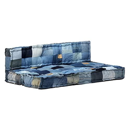 Tidyard Cojines para Sofá de Palés 2 Piezas Cojines para Palets Exterior Cojines para Sofá con Respaldo Tela Patchwork Vaquero Azul