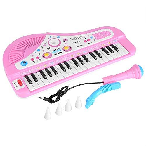 Piano para Niños Teclado Electrónico Piano con Micrófono 37 Teclas Regalo para Niños Juguete de Música Multifuncional (Rosa/Azul al Azar)