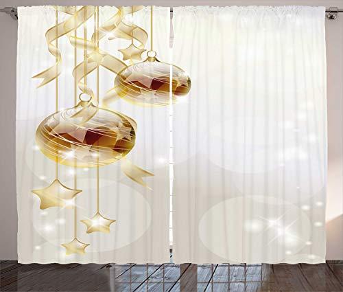 ABAKUHAUS Weihnachten Rustikaler Gardine, Weihnachtskugeln Moderne, Schlafzimmer Kräuselband Vorhang mit Schlaufen und Haken, 280 x 225 cm, Gelb Weiß