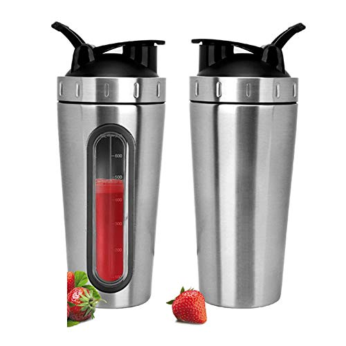 QWER 700 ML de protéines Shaker Bouteille de Sport Bouteille d'eau mélangeant mélangeur de protéines poudres en Acier Inoxydable Shaker,Silver