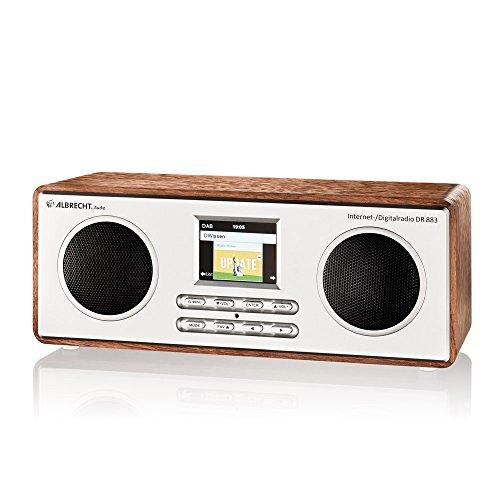 Albrecht DR 883 Digitalradio im Holzdesign mit Internet DAB+ UKW DLNA , Bluetooth , Farbdisplay , App-Funktion , Wecker und Sleeptimer