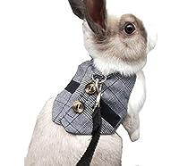 IGUGHI ウサギ 猫 ハーネス 伸縮 リード 調整可能 小動物用 お散歩用リード かわいい 小動物お出かけ用品 矮小ウサギに最適 ペット用品 小型ペット リード ハーネス セット (M)