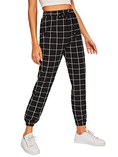 SweatyRocks Women's Drawstring High Waist Plaid Casual Long Pants with Pocket Black White M