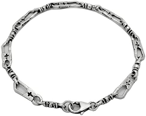 B and S Jewelry 925 Sterling Silver Oxidize Antique Finish Fisherman Link Bracelet Necklace product image