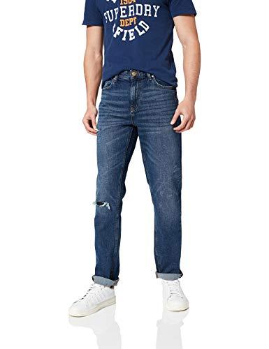 Springfield Denim Slim Lavado Oscuro con Rotos. Pantalones, Azul Medio, 32