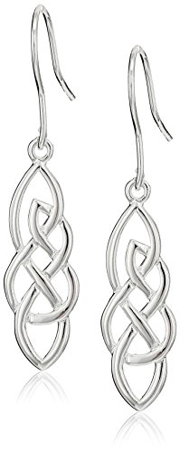 Sterling Silver Elongated Celtic Knot Drop Earrings