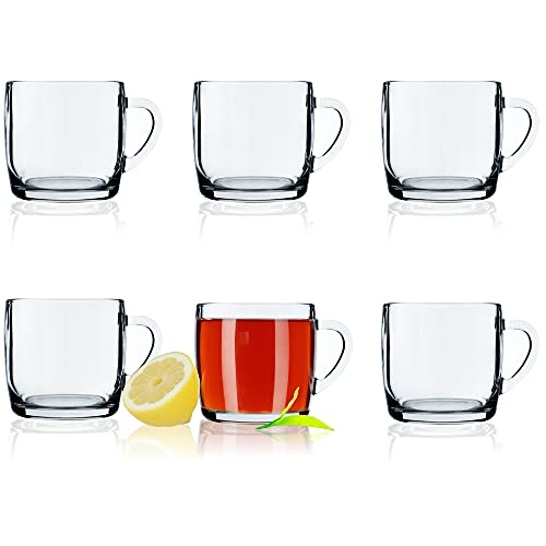 KADAX Juego de 6 vasos de té, vasos con asa, vasos de cristal para 6 personas, aptos para lavavajillas, vasos para café, té, agua, zumo, juego de vasos