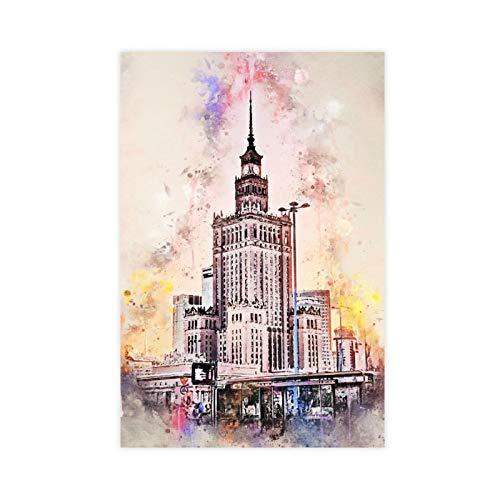 Akwarela obraz olejny miasto Warszawa płótno plakat sypialnia dekoracja sport krajobraz biuro pokój dekoracja prezent 12 × 18 cali (30 × 45 cm)