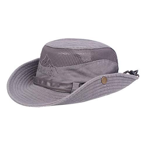 BIGBOBA Sombrero de Pescador Anti-UV algodón Sombrero Redondo Sombrero de montaña Acampar al Aire Libre Senderismo Viajes para Hombres Mujeres (Gris)
