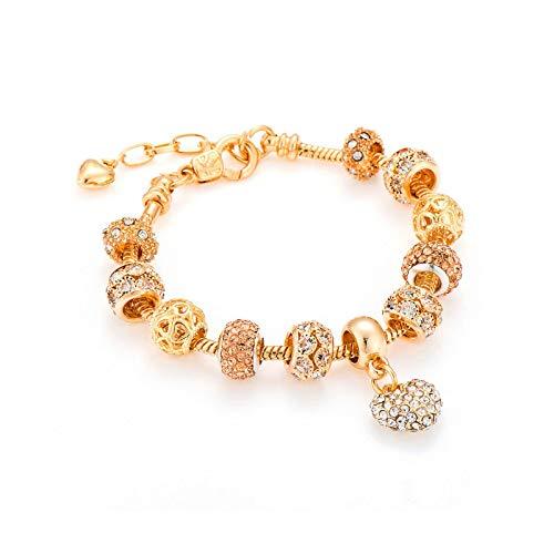 BSbattle Pulseras de lujo con forma de corazón de cristal y brazaletes de oro Pandora pulseras para mujeres Mbr170216 amarillo