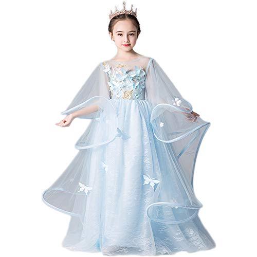Exquisito Vestido para nios, Vestido de Princesa, Traje de Rendimiento de Hilo Esponjoso de nia Disfraz de Rendimiento de Piano Fiesta de Vacaciones Vestida (Color : Blue, Size : 120cm)