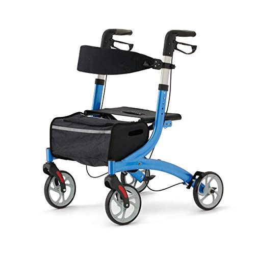 Medline Euro Style Rollator Walker with Seat for Seniors Folds Easily, Adjustable Height and Storage Bag, Blue, Large 8' Wheels