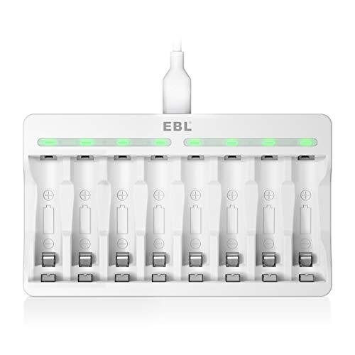 EBL Akku Ladegerät 8 Ladeplatz Batterie Ladegerät AAA AA NI-MH, NI-CD Akkus, USB Input 5V 2A Schnell Ladegerät mit LED Anzeige