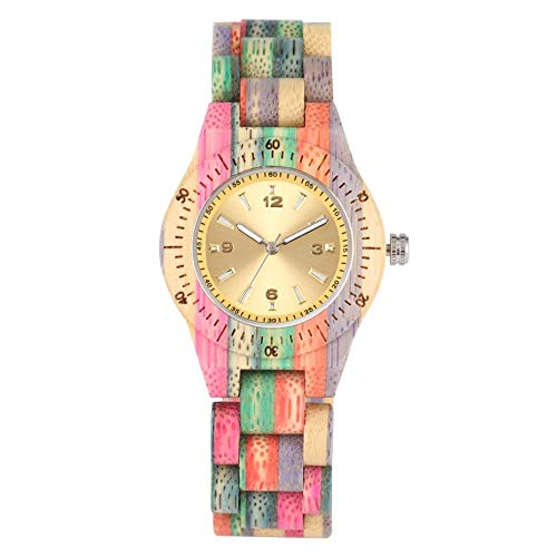IOMLOP Reloj de Madera, Reloj de Madera para Mujer, 100% Hecho a Mano, Reloj de Pulsera de Cuarzo de bambú Colorido Natural, diseño de Lujo, Solo Reloj