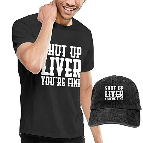 Henrn Camisetas y Tops Hombre,Tops y Camisas Shut Up Liver You'Re Fine T Shirts Short Sleeve Denim Hats