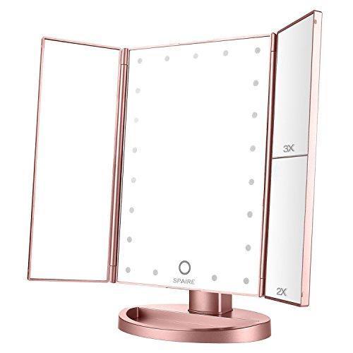 Spaire Kosmetikspiegel mit Beleuchtung Schminkspiegel Touchscreen Standspiegel Vergrößung Modi 1X 2X 3X Make up Spiegel mit 21 Led Licht Faltbare Beleuchtet 180° Drehbarer USB Aufladbar