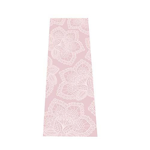 Love Generation Yoga Esterilla con impresión de 6 mm extra acolchada | PVC resistente y fácil de limpiar | muchas impresiones | 183 x 61 x 6 mm | para yoga, pilates y fitness (rosa loto)