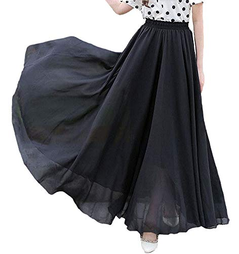 Afibi Womens Chiffon Retro Long Maxi Skirt Beach Ankle Length Skirt (Medium, Black)