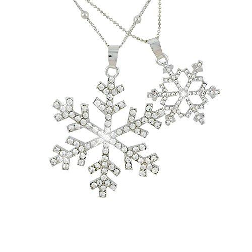 【Petit Lulu shop】ネックレス レディース クリスマス限定ニューバージョン 雪の結晶 二連 ロングネックレス ダイヤモンドCZ 18金RGP プチルルオリジナルネックレス3点セット